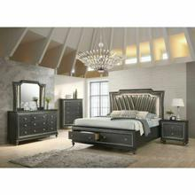 ACME Kaitlyn Queen Bed - 27280Q - PU & Metallic Gray