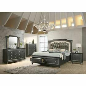 ACME Kaitlyn Queen Bed - 27280Q - PU & Metallic Gray