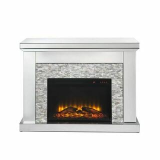 ACME Laksha Fireplace - 90522 - Glam - LED Electric Fireplace, Mirror, Glass, MDF, Faux Diamonds (Acrylic) - Mirrored and Stone