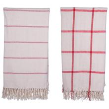 """Product Image - 60""""L x 50""""W Brushed Cotton Throw w/ Pattern & Fringe, Red & Cream Color, 2 Styles"""