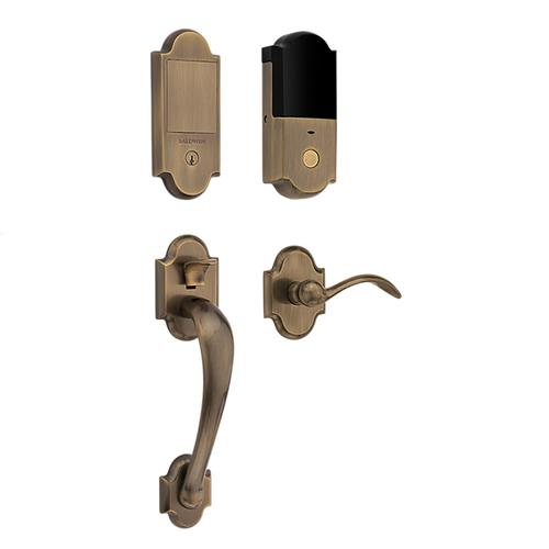 Satin Brass and Black Boulder Touchscreen Dummy Handleset