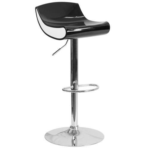 Contemporary Black and White Adjustable Height Plastic Barstool with Chrome Base