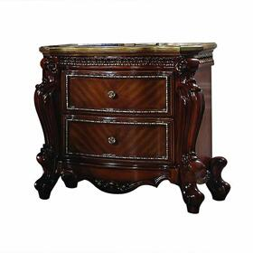 ACME Picardy Nightstand - 27843 - Traditional, Vintage - Wood (Aspen/Poplar), MDF, Poly-Resin - Cherry Oak