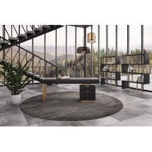 See Details - Modrest Trahan - Modern Grey Elm & Gold Office Desk