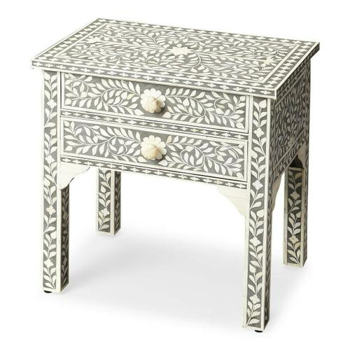 Butler Specialty Company - Grey is the newest neutral, married to handcrafted bone inlay in an eye catching vine pattern to create the perfect lamp table or bedstand. The two drawers have delicately carved bone pulls that mirror the shimmering pearlesque detail.