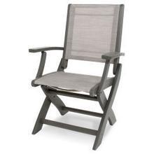 View Product - Coastal Folding Chair in Slate Grey / Metallic Sling