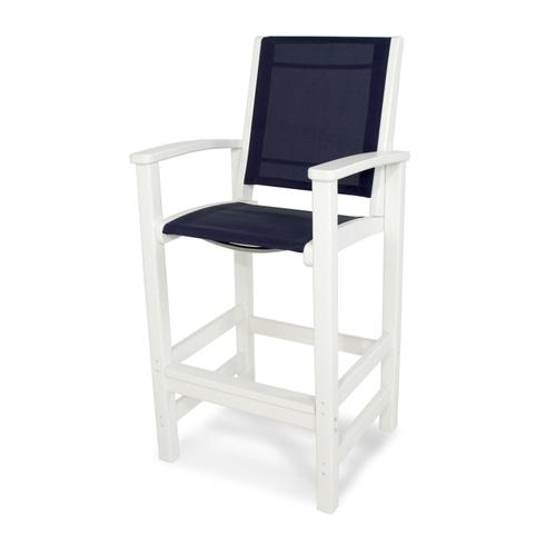 White & Navy Blue Coastal Bar Chair