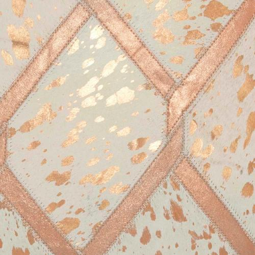"""Natural Leather Hide Pn887 Rose Gold 18"""" X 18"""" Throw Pillow"""
