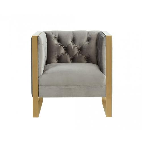 VIG Furniture - Divani Casa Carlos Modern Grey Velvet & Gold Accent Chair