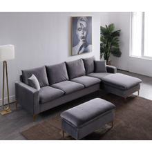 See Details - Divani Casa Parker Modern Grey Velvet Sectional Sofa & Ottoman