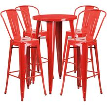 24'' Round Red Metal Indoor-Outdoor Bar Table Set with 4 Cafe Stools