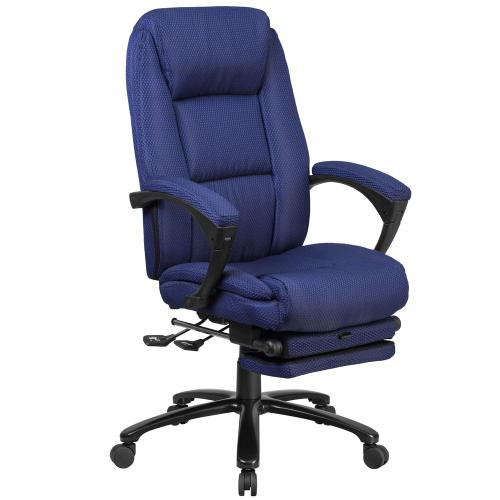 High Back Navy Fabric Executive Reclining Swivel Office Chair with Comfort Coil Seat Springs and Padded Armrests