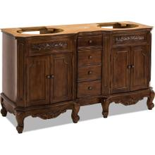 "60"" double Nutmeg vanity base with Antique Brass hardware, carved floral onlays, and French scrolled legs"
