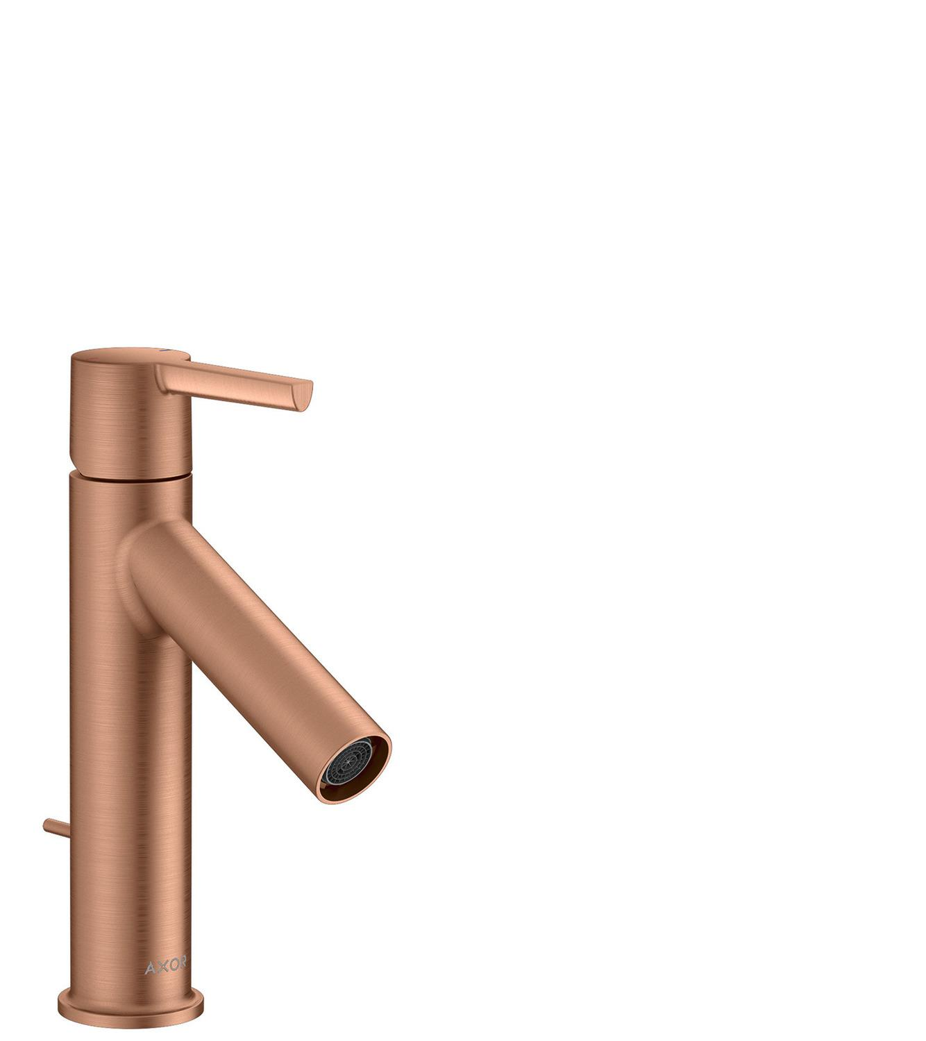 Brushed Red Gold Single lever basin mixer 100 with lever handle and pop-up waste set