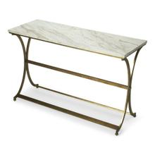 See Details - Featuring a polished marble top and antiqued gold toned base This console table brings an airy open style to any space. Try topping it with a vase of blooms for a charming entryway focal point or behind the sofa paired with a lamp for evening reading.