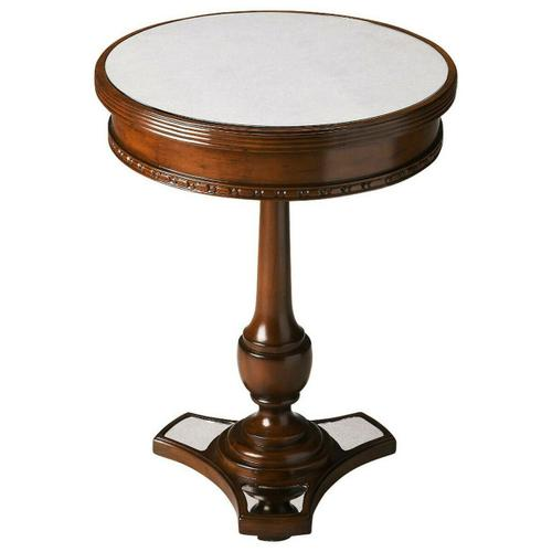 Butler Specialty Company - The carved mahogany of this round table gains beauty when paired with the mirrored top and base. The functionality of this table is enhanced by the original simplistic beauty created by the antiqued mirrors and wood.