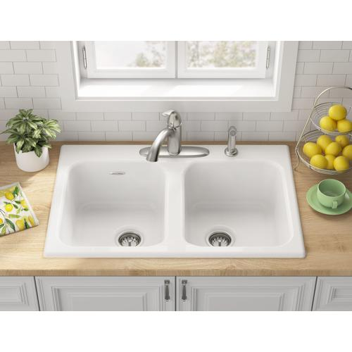 American Standard - Quince 33x22-inch Double Bowl Cast Iron Kitchen Sink - 4 Hole  American Standard - Brilliant White