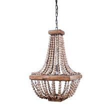 "16-1/2"" Sq x 28""H Metal Chandelier w/ Wood Beads"