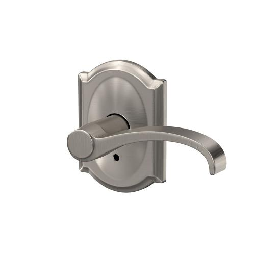 Custom Whitney Non-Turning Lever with Camelot Trim - Satin Nickel