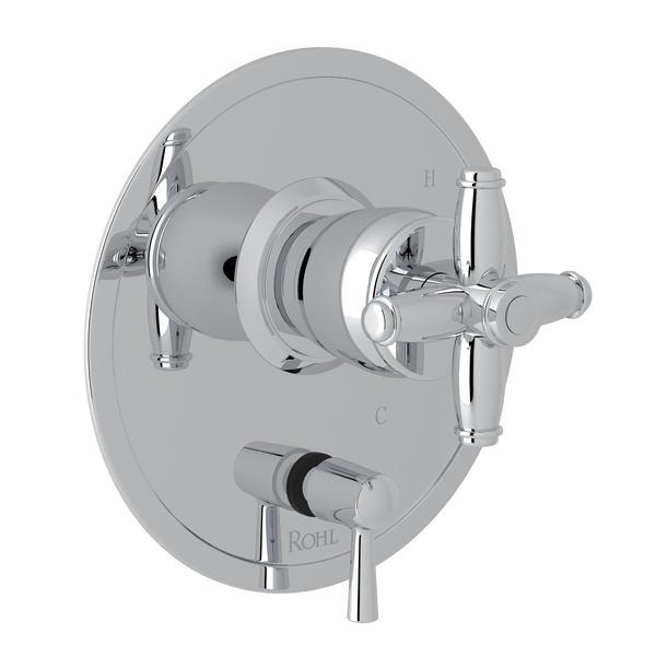 Polished Chrome Zephyr Pressure Balance Trim With Diverter with Cross Handle Zephyr Series Only