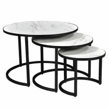 See Details - Darsh 3pc Round Coffee Table Set in Faux White Marble