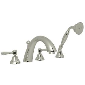 Verona 4-Hole Deck Mount C-Spout Tub Filler with Handshower - Polished Nickel with Metal Lever Handle