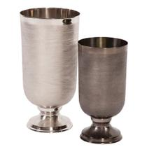 View Product - Textured Smoke Black Metal Chalice Vase, Small