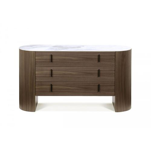 VIG Furniture - Modrest Chelton - Contemporary White Ceramic & Walnut Dresser