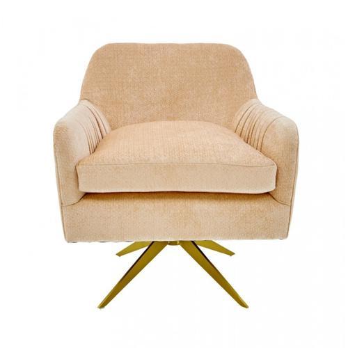 VIG Furniture - Divani Casa Abigail Modern Peach Velvet Swivel Accent Chair