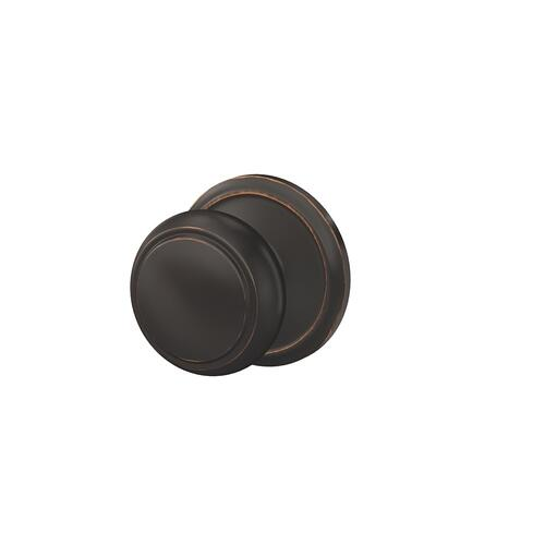 Custom Andover Knob with Alden Trim Hall-Closet and Bed-Bath Lock - Aged Bronze