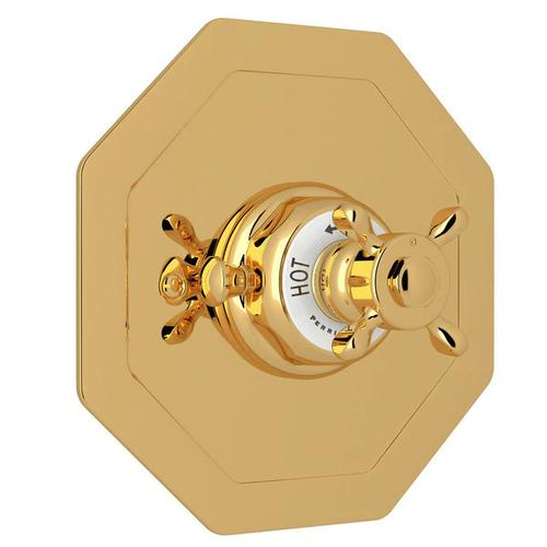 Edwardian Octagonal Concealed Thermostatic Trim without Volume Control - English Gold with Cross Handle