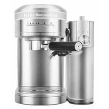 See Details - Metal Semi-Automatic Espresso Machine and Automatic Milk Frother Attachment Bundle - Brushed Stainless Steel