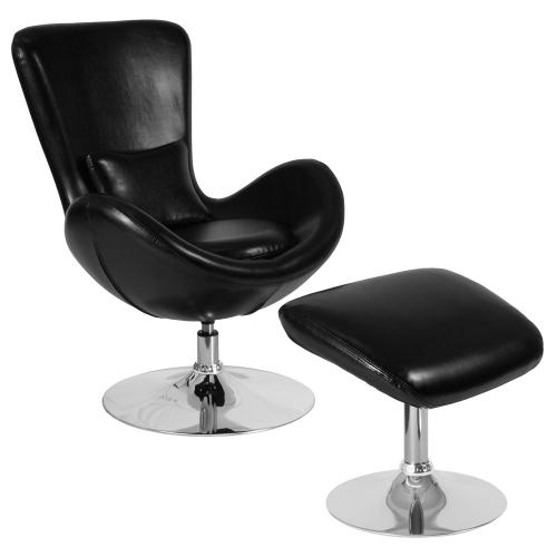 Alamont Furniture - Black Leather Side Reception Chair with Ottoman