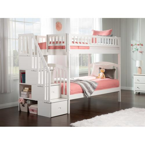Atlantic Furniture - Westbrook Staircase Bunk Bed Twin over Twin in White