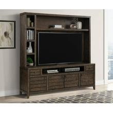 TEMPE - TOBACCO 84 in. TV Console with Hutch and Back Panel