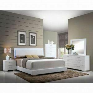 ACME Lorimar Queen Bed (HB w/LED) - 22640Q - White PU & Chrome Leg
