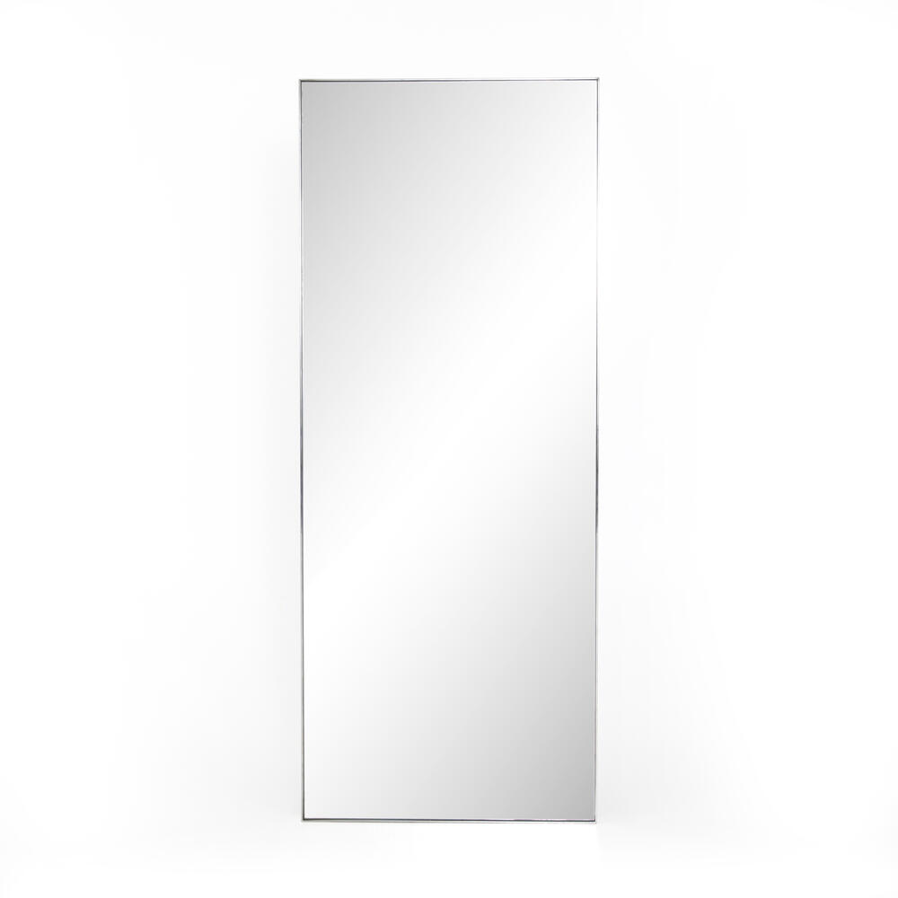 Shiny Steel Finish Bellvue Floor Mirror