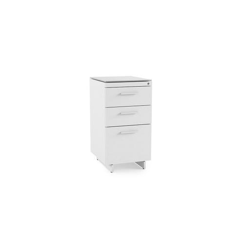 3 Drawer File Cabinet 6414 in Satin White Painted Oak Grey Glass