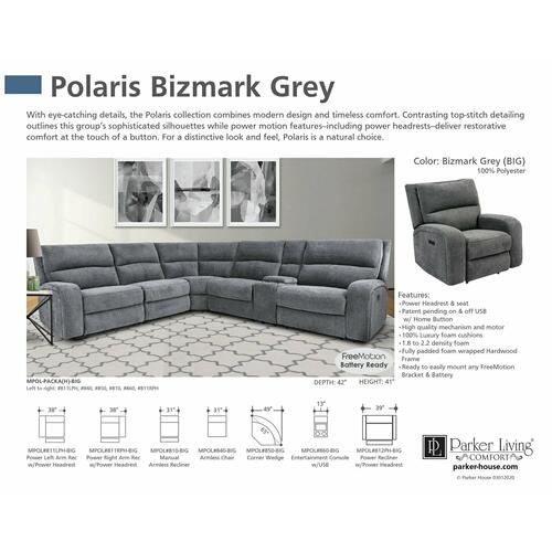 Parker House - POLARIS - BIZMARK GREY Power Right Arm Facing Recliner