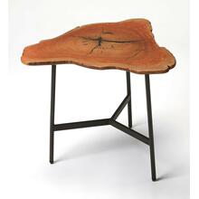 This live edge end table imparts a rustic sensibility to any space. Featuring a free form solid acacia wood top supported by a three-legged iron base joined by a Y-shaped stretcher, it is a great addition in the living room, bedroom or office.