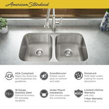 """See Details - Portsmouth 32x18"""" ADA Double Bowl Stainless Steel Kitchen Sink  American Standard - Stainless Steel"""