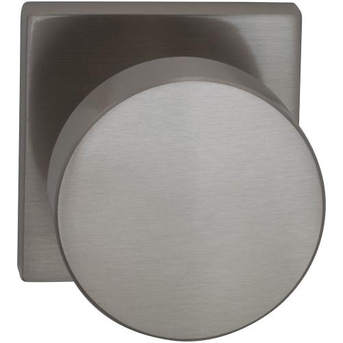 Interior Modern Knob Latchset with Square Rose in (US15 Satin Nickel Plated, Lacquered)