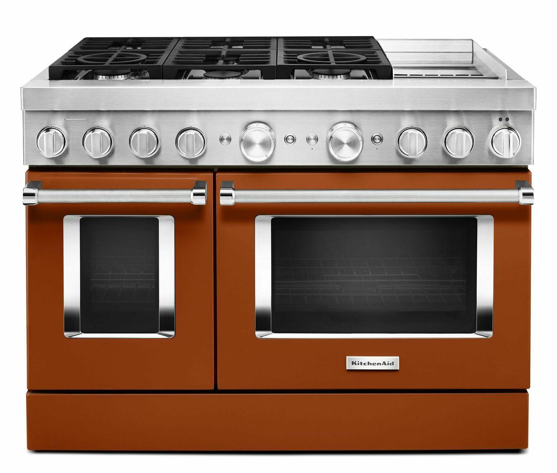 KitchenaidKitchenaid® 48'' Smart Commercial-Style Dual Fuel Range With Griddle - Scorched Orange