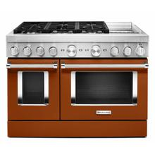 View Product - KitchenAid® 48'' Smart Commercial-Style Dual Fuel Range with Griddle - Scorched Orange