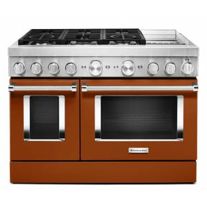 KitchenAid® 48'' Smart Commercial-Style Dual Fuel Range with Griddle - Scorched Orange Product Image