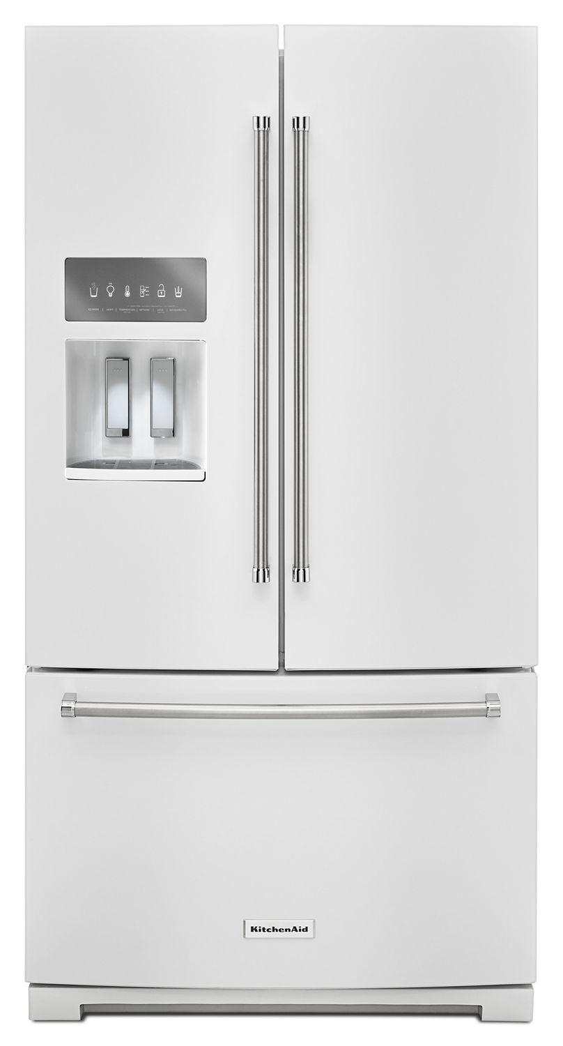 Kitchenaid26.8 Cu. Ft. 36-Inch Width Standard Depth French Door Refrigerator With Exterior Ice And Water White