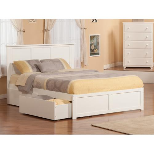 Madison King Flat Panel Foot Board with 2 Urban Bed Drawers White