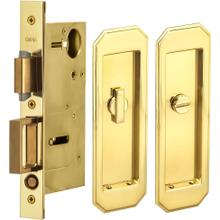 Pocket Door Lock with Traditional Trim featuring Turnpiece and Emergency Release in (US3 Polished Brass, Lacquered)