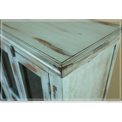 Console w/ 4 Glass Doors - Blue finish