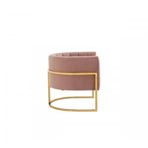 Gallery - Modrest Landau - Modern Pink Velvet & Gold Stainless Steel Accent Chair